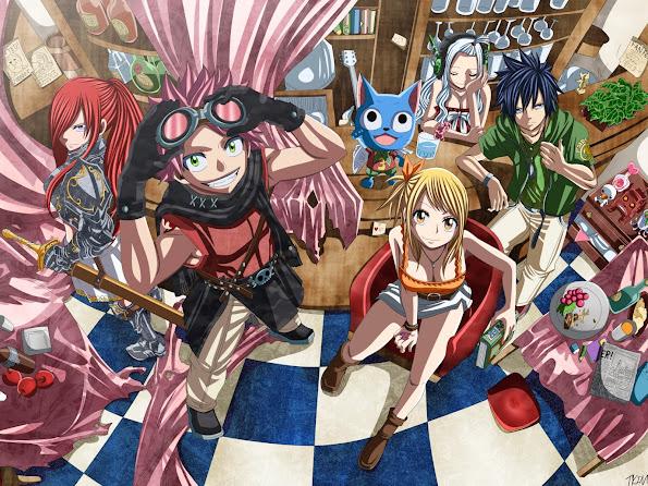 fairy tail erza natsu lucy gray happy mirajane guild member hd wallpaper