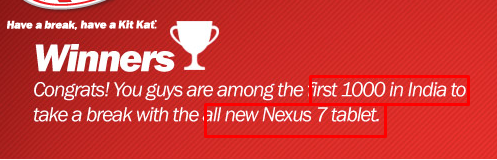 Nestle KITKAT contest, extension of date and the delivery schedule for Nexus 7 2013 to the contest Winners
