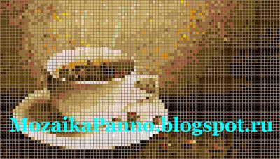 Картина из стеклянной мозаики «Чашка кофе»