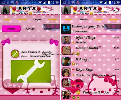 BBM Mod Hello Kitty Themes Version 2.8.0.21 Apk New Update + Free Sticker