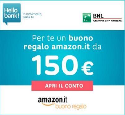 Con HELLO BANK GRATIS un BUONO AMAZON di 150 euro!