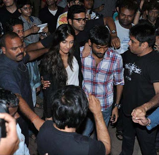 Sonam & Dhanush meet fans at Chandan Cinema