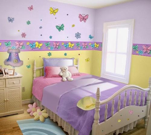 Decoracion Habitaciones Ni?as ~ Dormitorio para ni?a decorado con mariposas en el revestimiento de