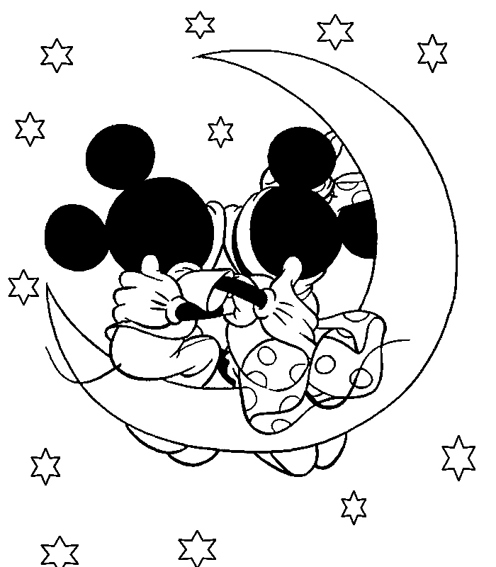 Disney Coloring Page Minnie And Mickey Coloring Page