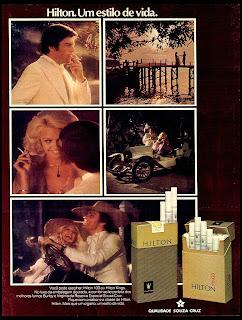 propaganda cigarros Hilton - 1975, reclame 1975. 1975. propaganda cigarros anos 70.  propaganda anos 70. história decada de 70; reclame anos 70.  Brazil in the 70s; Oswaldo Hernandez;