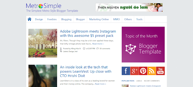 Download Free Responsive Metro Simple Blogger Template