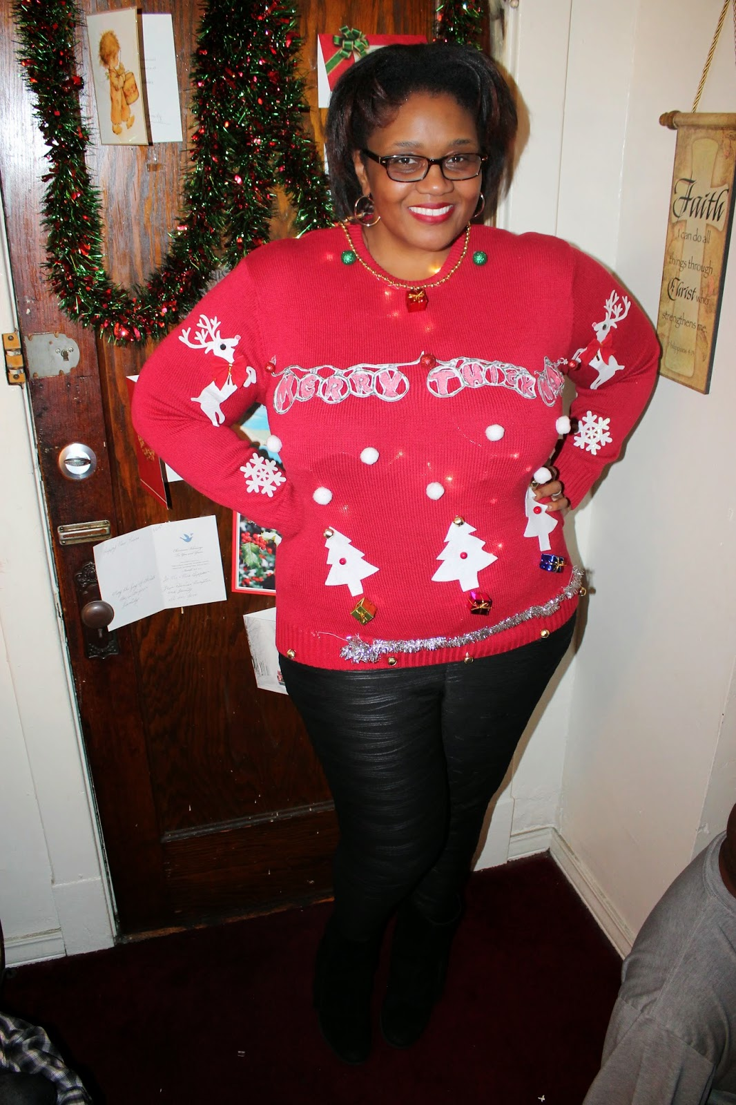 What I Wore Red Haute Ugly Christmas Curvatude