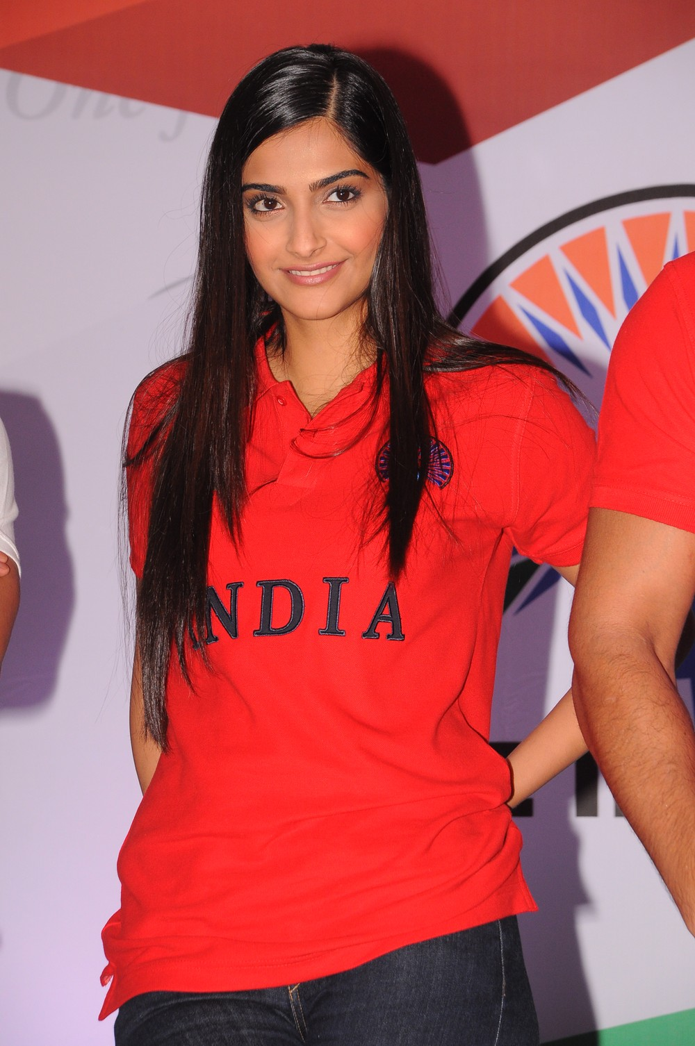 Sonam kapoor photos in red t shirt at the indian brand launch