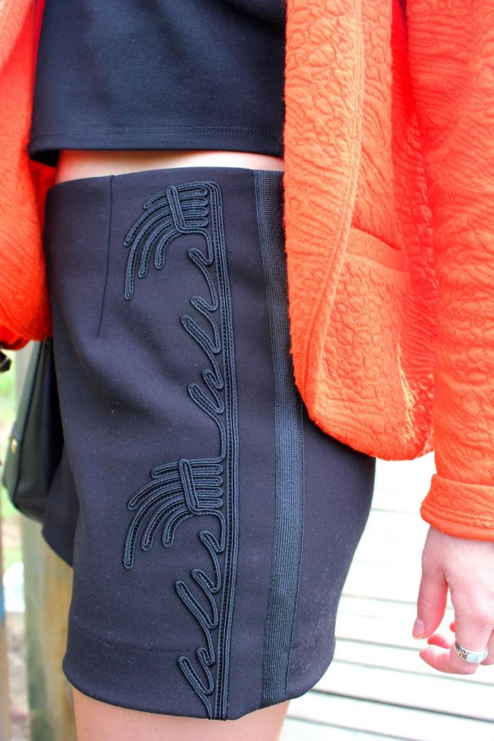 orange blazer, crop top, diana dazzling,  fashion blog, fashion blogger, primark, opening, paris, o'parinor