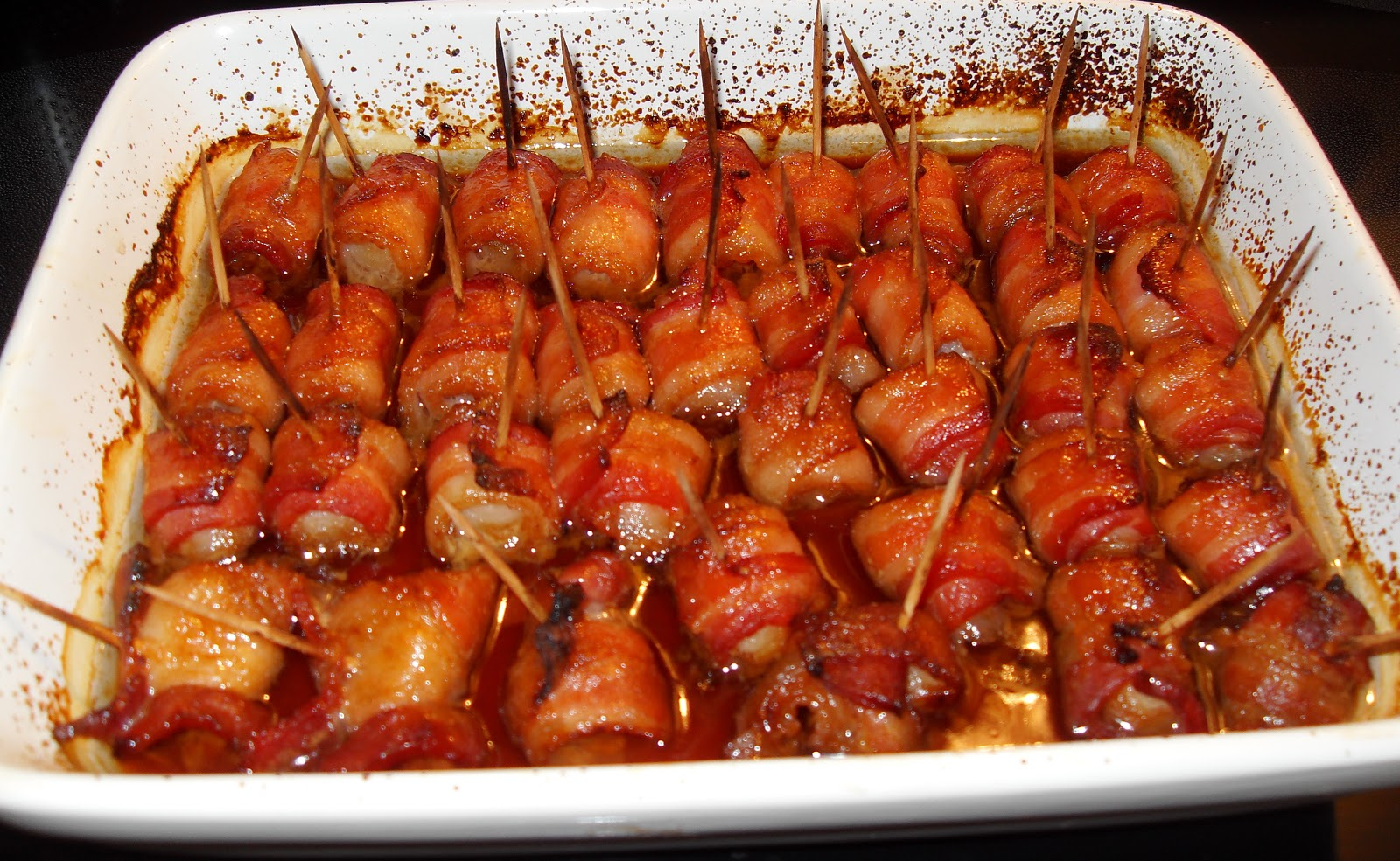 bacon wrapped water chestnuts in casserole