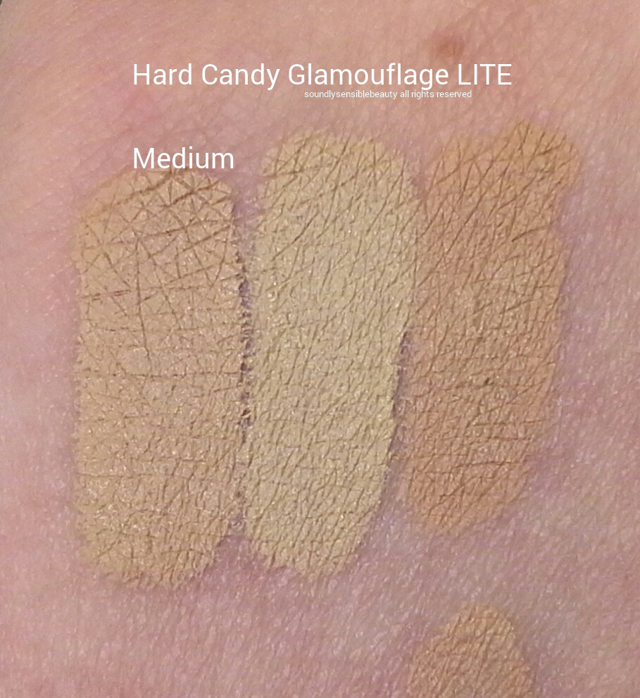 Hard Candy Glamoflauge Lite Blendable Concealer Duo Swatches of Shade Medium