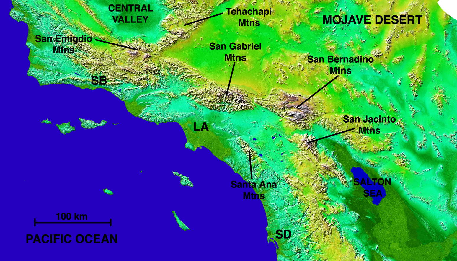 just showing the topography around los angeles it shows the various mountain ranges that surrounds the city this image is not mine