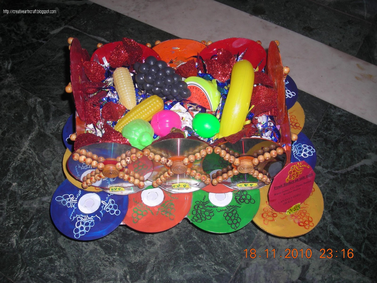 Anu 39 s art and crafts best out of waste fruit basket with for Waste crafts making