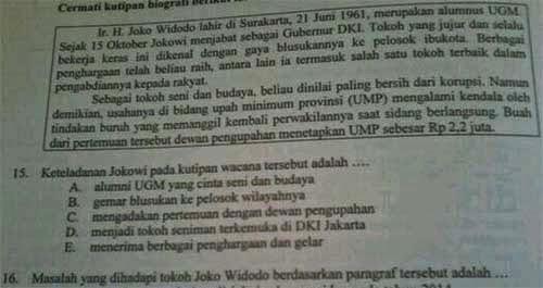 Nama Jokowi di UN 2014 Mapel Bahasa Indonesia SMA/MA