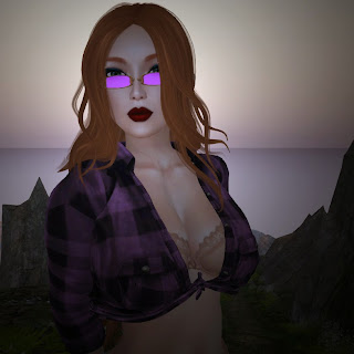 redhead bra glasses