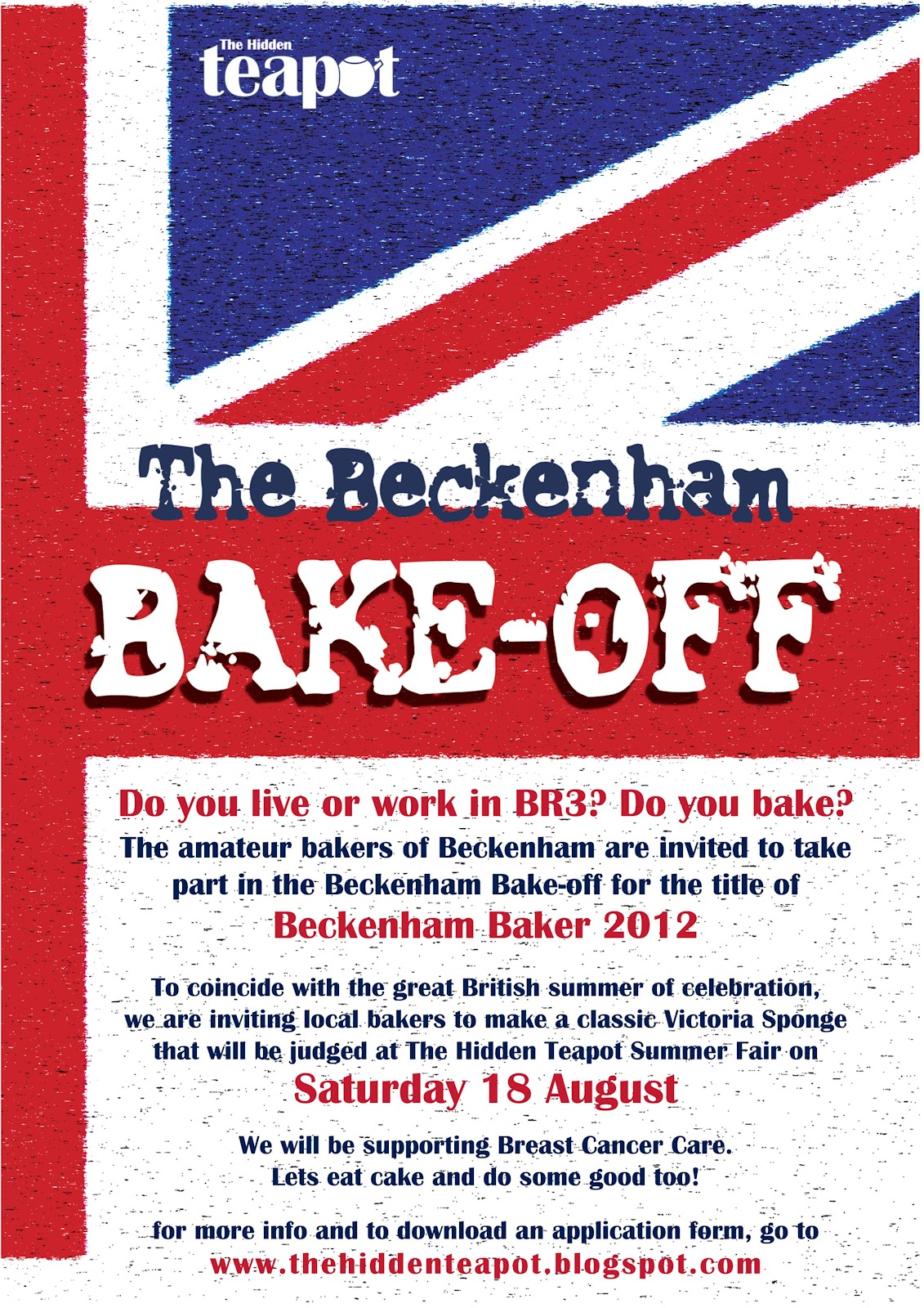the hidden teapot beckenham bake off so if you live or work in beckenham get your pinny on and get baking we ll be supporting breast cancer care so if that isn t justification to eat cake