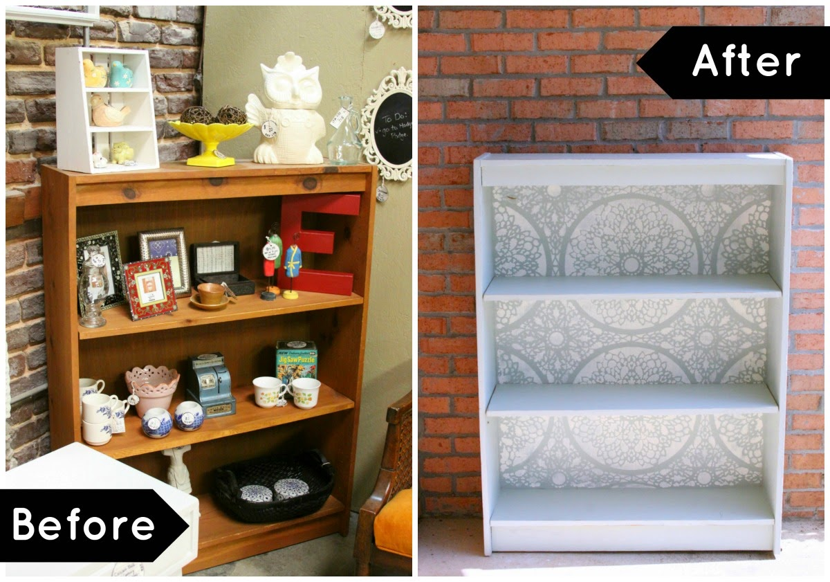 Before and After: The Stenciled Bookshelf!