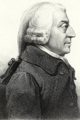 Adam Smith - etching by unknown artist, from original medallion by James Tassie (1787) - public domain, via Wikimedia Commons