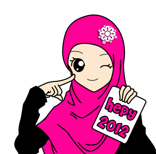Freebies Cartoon Muslimah New Year 2012