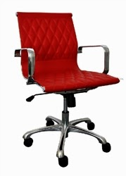 Contemporary Red Leather Office Chair by Woodstock