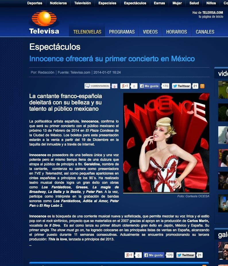 Acceso a la web de Televisa con la noticia