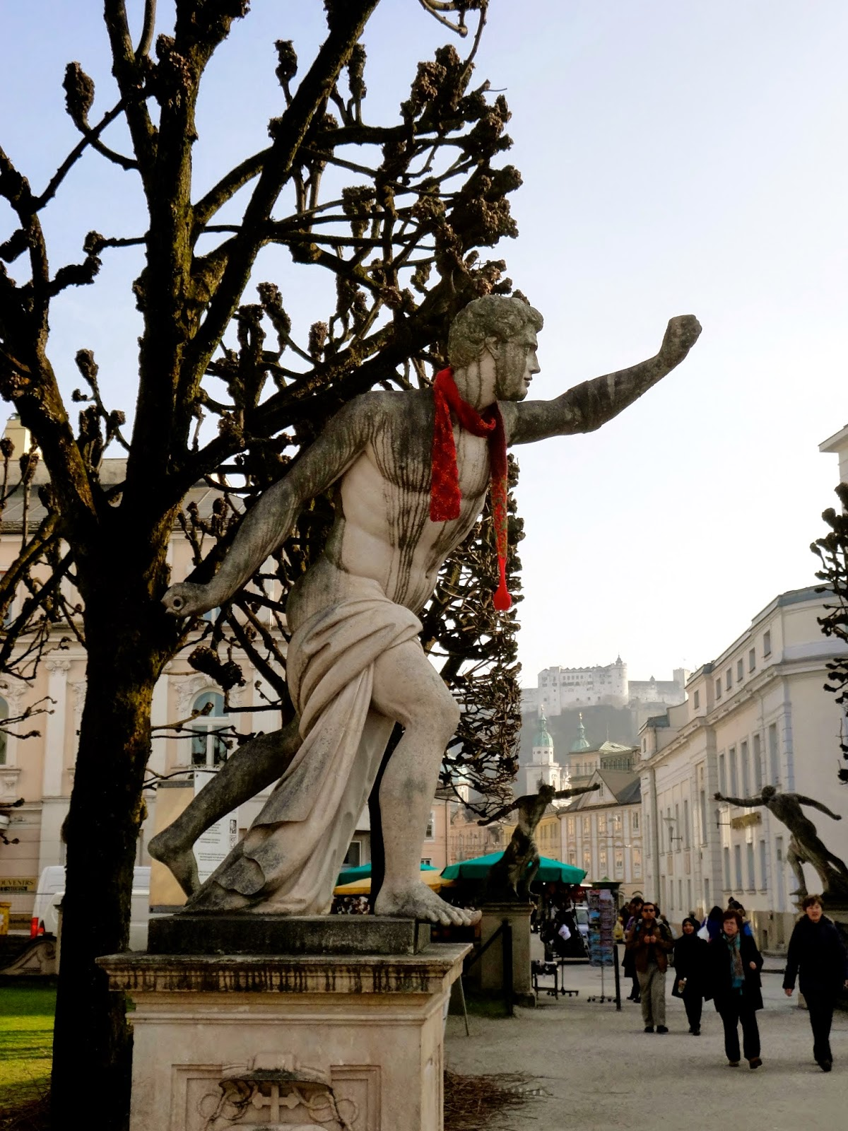 Statue wearing a scarf in Salzburg, Austria