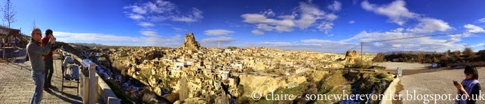 looking towards the rock citadel of Uçhisar, Cappadocia