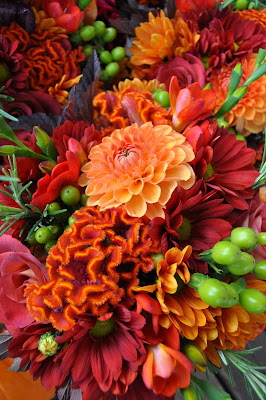 Fall flower arrangement featuring Celosia and Gerbera daisies