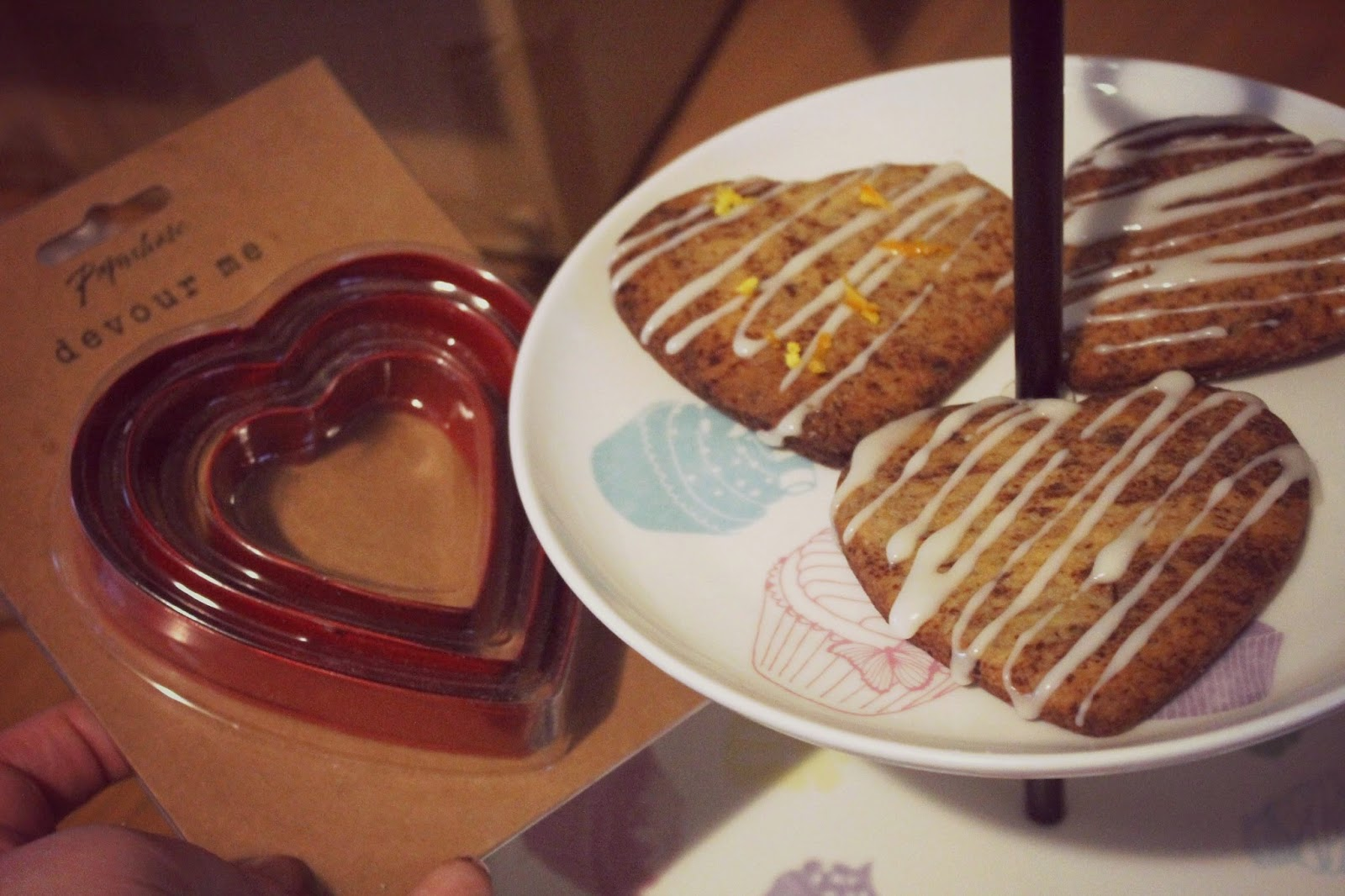 choc orange heart shaped biscuits