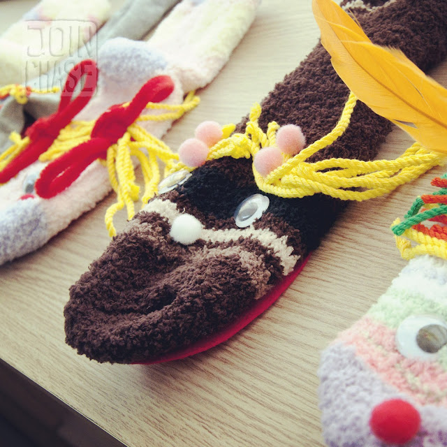 Sock puppets made by elementary students for Winter English Camp at Bibong Elementary in Ochang, South Korea