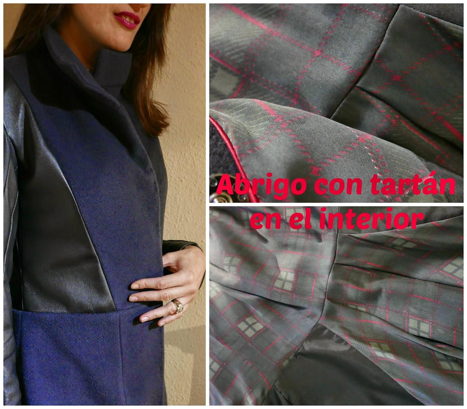 Detalles del abrigo, primer plano y forro de cuadros
