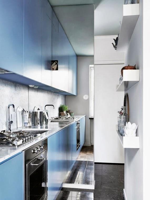truque para pequenos espaços - cozinha apertada - espelho para aumentar
