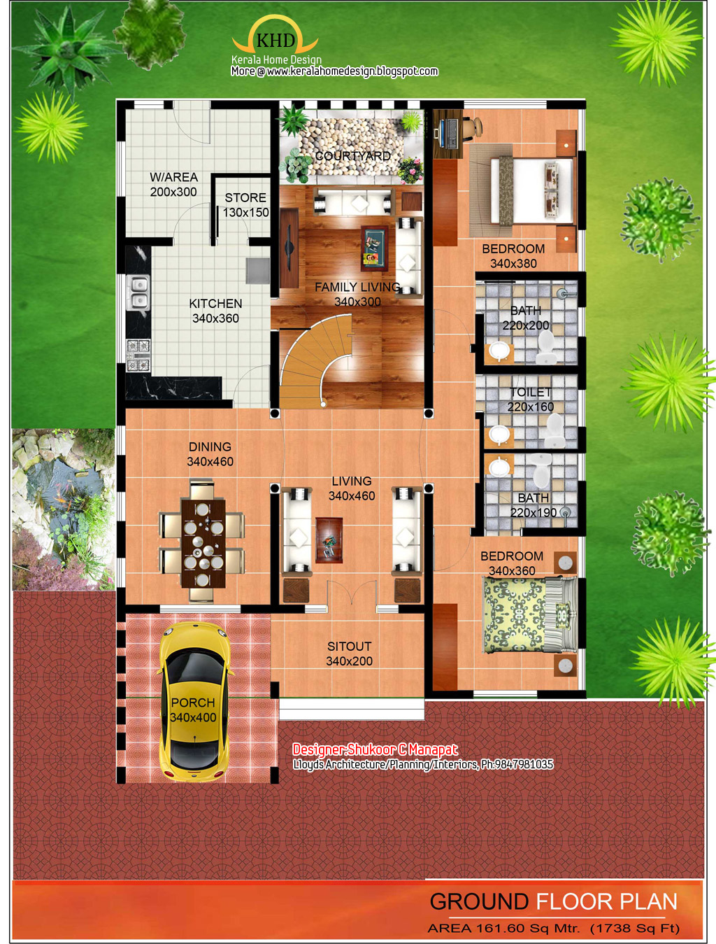 2563 sq ft contemporary and kerala style architecture for Ground floor house design