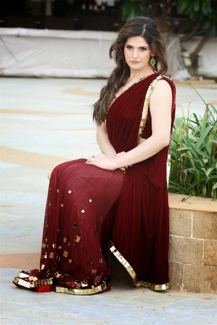 Zarine Khan in Marron Saree Latest Photo Stills
