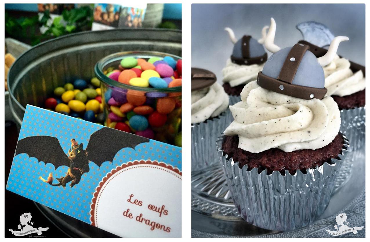 étiquette et cupcake theme dragons