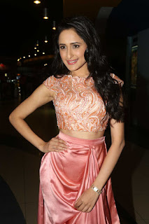 Pragya Jaiswal looks cute in Short Top and Peach Skirt at Kanche Trailer Launch