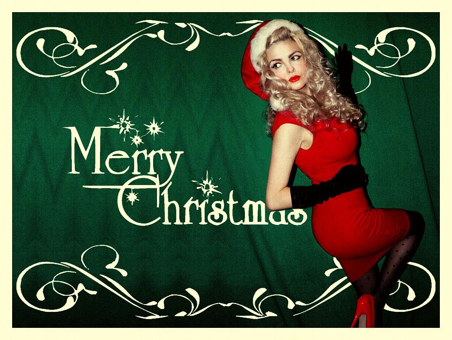 Retro Christmas, Christmas Pin Up, Vintage, Pin Up, Retro Christmas Postcard