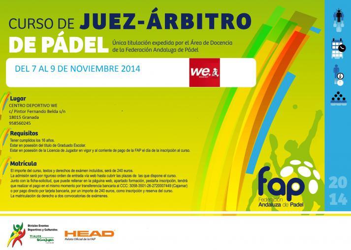 Cartel informativo del curso de Juez Árbitro a celebrar en Granada