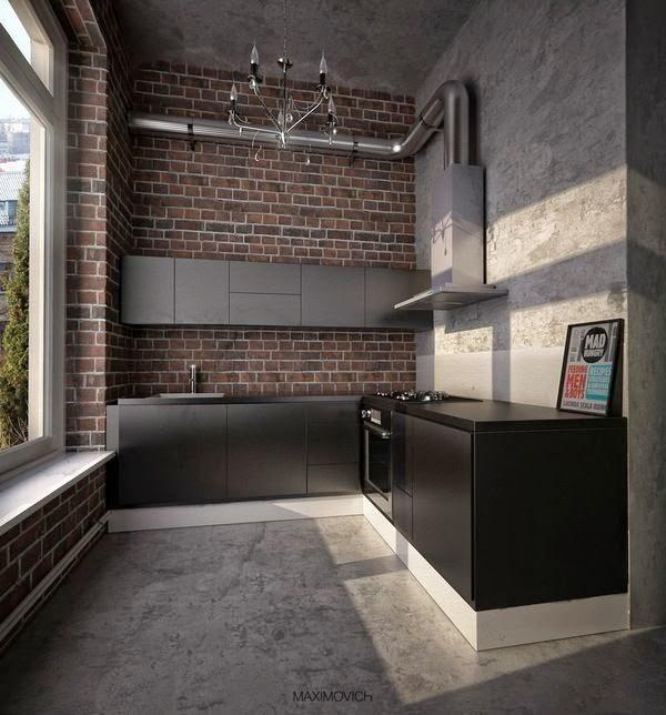 Fotos de decoraci n paredes cocinas hormig n y ladrillo for Como hacer el color gris para paredes