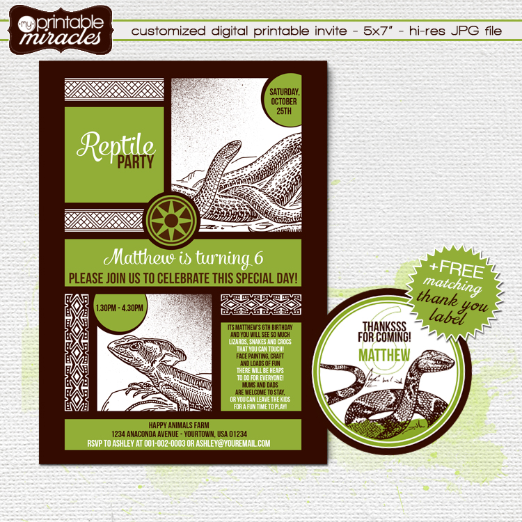 Myprintablemiracles reptile birthday reptile themed birthday party invitation with round thank you label these are customized by mei can put your kids photo on the invite filmwisefo