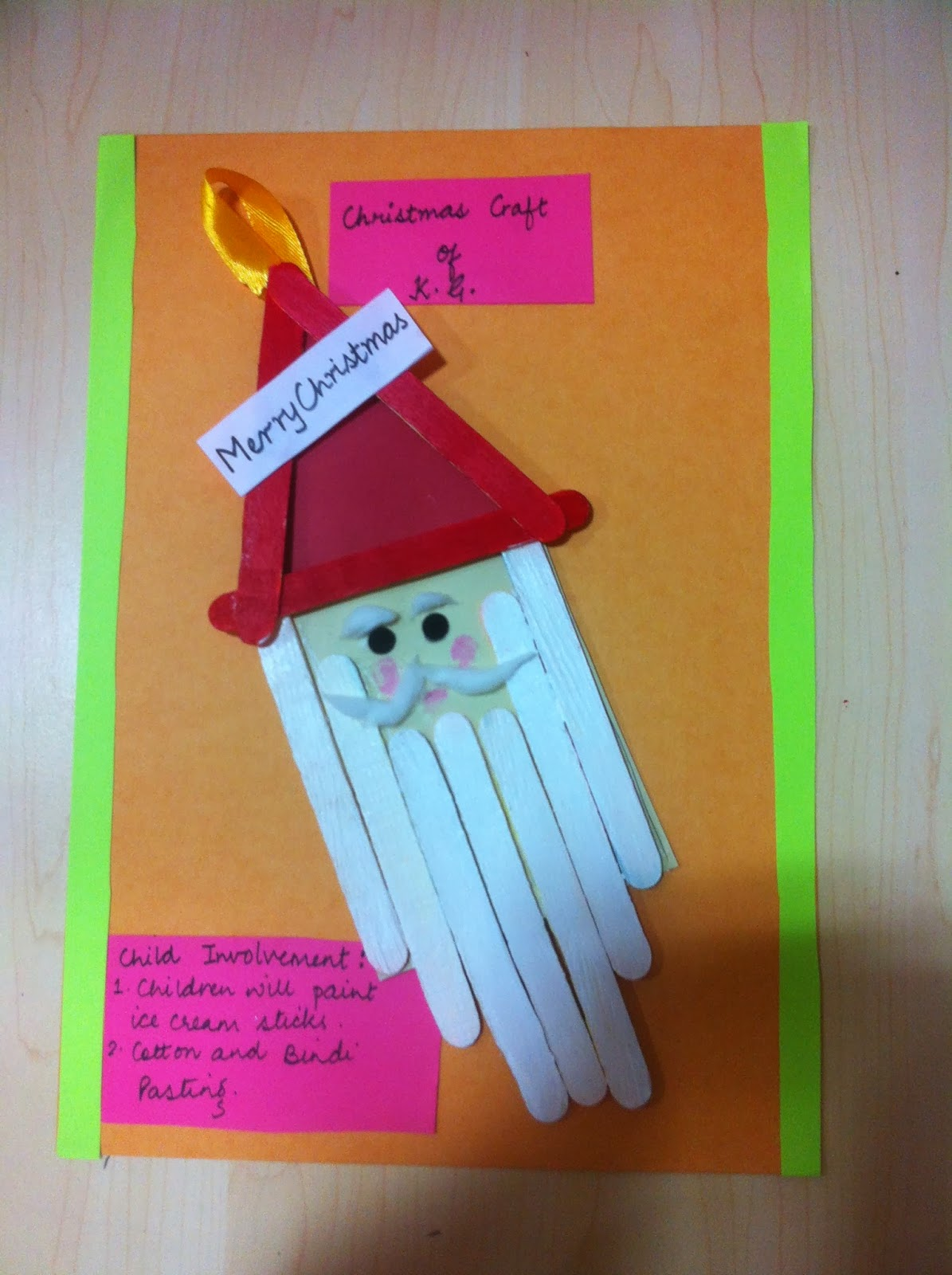So Are KidsMy Colleague Kanika Bhardwaj Helped Her Students To Make Santa With Paper And Ice Cream Sticks Posted By Manishas CraftIdeas