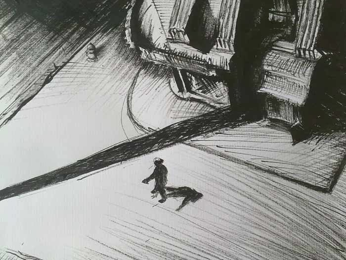 copia de un dibujo de edward hopper