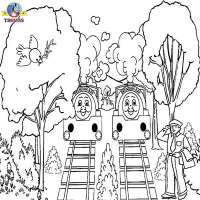 Childrens art printable picture twins Bill and Ben tank engine Thomas train coloring pages for boys