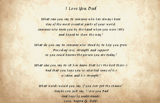 I Love Mom And Dad Poems I recently received a Fathers