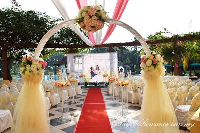 wedding decoration vendor, arch, organza, floral, flower design, outdoor ceremony, event, management, kuala lumpur, selangor, draping, ceiling, red carpet, rental, backdrop, printing, chair tie back, satin sashes, kelab golf sultan abdul aziz shah, dessert bar, table, ballroom stage backdrop, photo album table, love corner, reception table, VIP table centerpiece, chandelier, fresh flower, flower stand, metal lantern, block candle