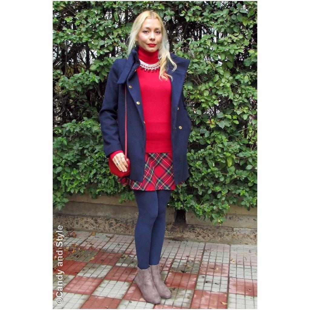 Festive Outfit - RedTartan+BlueCoat+StatementNecklace
