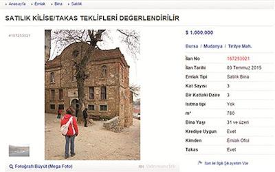 Εκκλησία του 13ου αιώνα προς πώληση στη Τουρκία