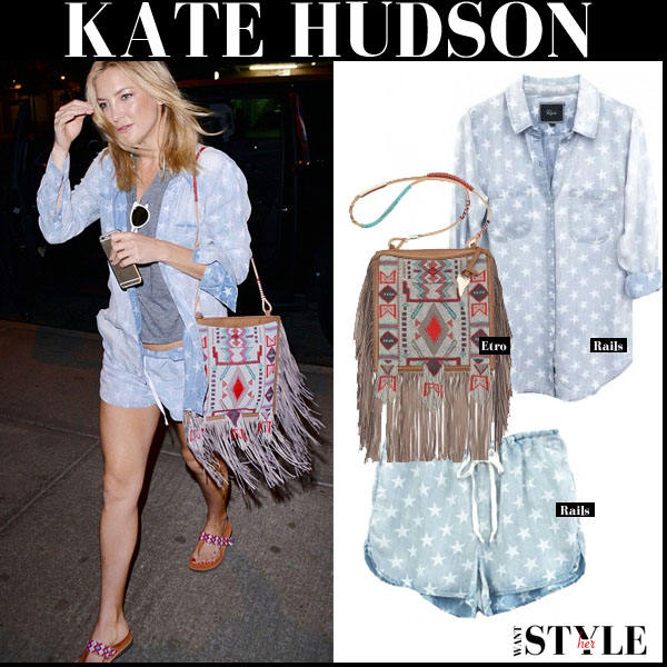 Kate Hudson in light blue star print Rails shirt and Rails shorts with fringe Etro bag streetstyle