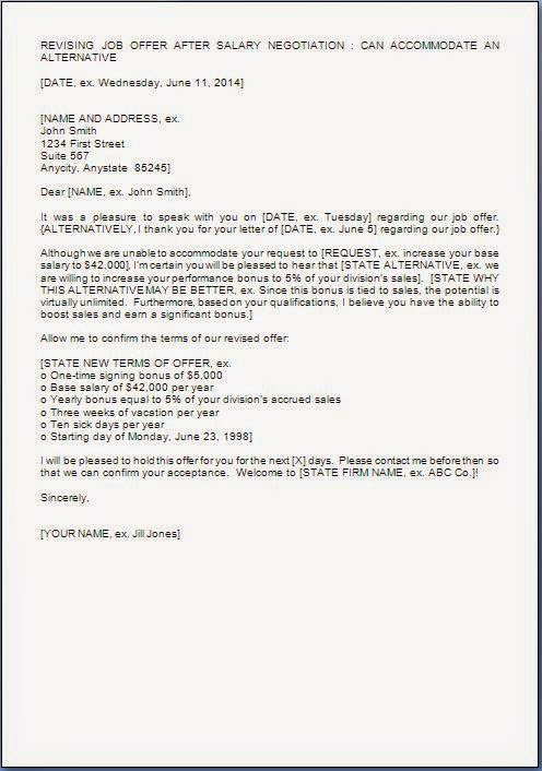 Revised Job Offer Letter Format
