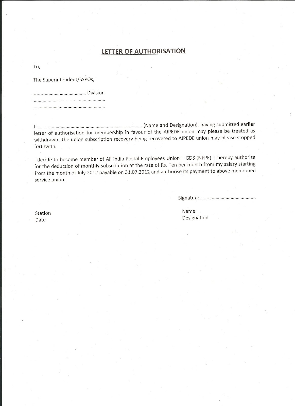 National Federation Of Postal Employees Letter Of Authorisation